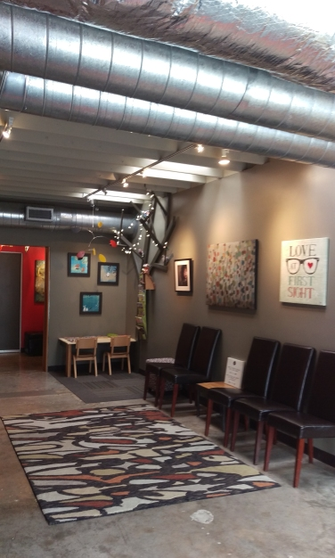 """I share my reception area with Stars In Your Eyes Optometry @ 2116 Hancock Drive. There is meditative TV, filtered water and restrooms here. Just tell front desk you are """"Here for Emily!"""" and I will come meet you at your session time."""